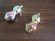 елочные игрушки из стекла - цыплята 2шт.